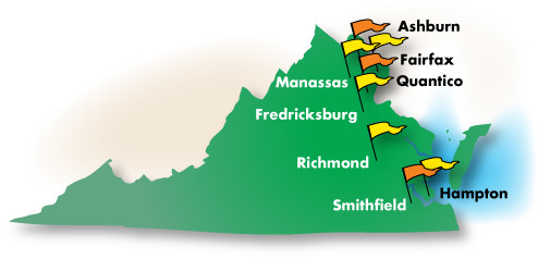 Map of Virginia's Rainbow Assemblies